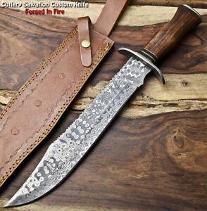 Cutlery Salvation Handmade Damascus Steel Blade Hunting Bowie Knife |Walnut Wood