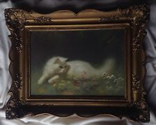 Antique Hungarian Oil Painting White Persian Cat Signed Boleradszky Gold Frame