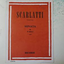 piano solo SCARLATTI sonata F minor L475 , ricordi