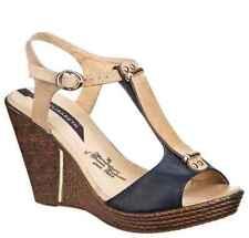 "Elisabeth UK 4 EU 37 Ladies 4"" Wedge Heel Dark Blue Cream Strappy Sandals Shoes"