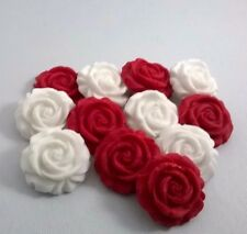 12 RED AND WHITE ROSES edible sugar flowers cake decorations toppers wedding