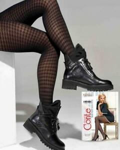 CONTE Encore Tights | Houndstooth Patterned Black Pantyhose