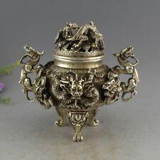 China White Copper Silver Dragon Head Sun Incense Burner Censer Bronze Statue