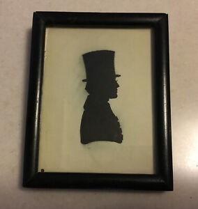 """1800's SILHOUETTE Ink Profile of Gentleman w/Stovepipe Hat, Glass Front, 5""""x4"""""""