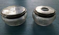 R. BLACKINTON & CO. GLASS W/ STERLING SILVER LIDS HAIR RECEIVER & DRESSER BOX