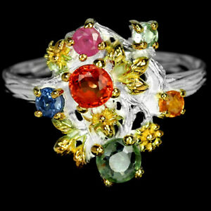 GENUINE MULTI COLOR SAPPHIRE ROUND STERLING 925 SILVER FLOWER RING SIZE 6.75