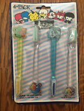 4 Pack Vintage 1970s Dura-Kleen Soft Straight Toothbrushes With Cartoon Handles
