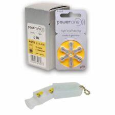 PowerOne Hearing Aid Batteries Size 10, PR70 (60 Batteries) + Battery Holder