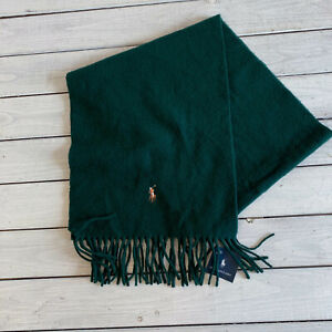 POLO Ralph Lauren Green Scarf Green Lambswool Pony Logo Italy Fringed NWT
