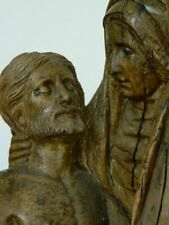 Large & Impressive Late 15th Century Antique Carved Wood Sculpture of The Pieta