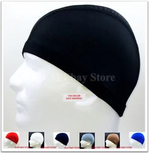 Spandex Dome Cap Helmet Liner FootBall Biker Beanie Hat Head Black *Please Read*