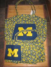 Michigan Wolverines Floral Tote/Yoga Bag Set Nwt