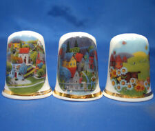 Birchcroft China Thimbles -- Set of Three -- Fantasy Country