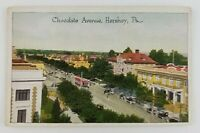 Postcard Chocolate Avenue Hershey Pennsylvania Old Cars Trolley