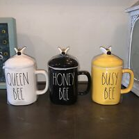 "RAE DUNN ""HONEY BEE"" ""QUEEN BEE"" ""BUSY BEE"" With Topper 3 Mug Set Honey Comb"