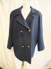 "Ladies Coat Miss Smith UK 22, bust 48"", navy pure wool, vintage 1980s 1121"