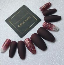 Hand Painted False Nails Matte Burgundy Christmas Glitter Coffin Full Cover Tips