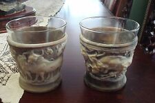 Incolay Stone carving glass holders with 2 glasses[a*4-113]