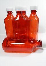 100 Amber Medicine Plastic Storage Bottles/Caps Large 8 OZ Size-BRAND NEW