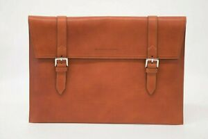 NWT $1395 Brunello Cucinelli Men's 100% Leather Logo Embossed Document Case A211