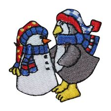 ID 8226B Penguin Build Snowman Patch Snow Day Fun Embroidered Iron On Applique