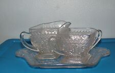 Vintage Indiana Glass Creamer Sugar Bowl w/ Tray Sandwich Pattern #170 Beautiful