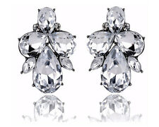 Glitz Diva Collection Crystal Drop Earrings for Women/Girls Gifts - White