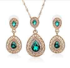 Fashion Women Rhinestone Crystal Pendant Necklace Chain Earrings Jewelry Set
