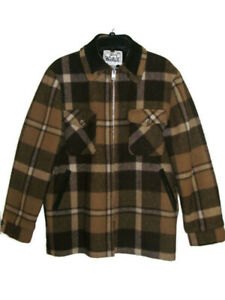 Vintage Woolrich Men's  Brown Plaid 100% Wool Coat Jacket Sherpa Lined  Medium