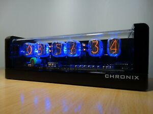 Nixie Clock 6 IN-12 tubes black glossy case & alarm & blue LED steampunk retro