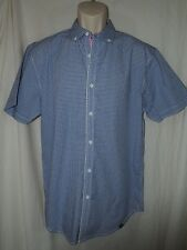 Marc Ecko Cut and Sew Blue Gingham Short Sleeve Button Down size Large