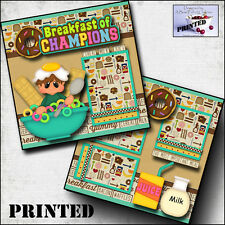 BREAKFAST OF CHAMPIONS ~ printed 2 premade scrapbook pages paper layout ~ CHERRY