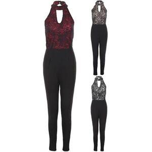 Ladies Halter Neck Plunge Sleeveless Glitter Lace Overlay Lurex Smart Jumpsuit