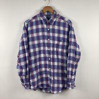 Sportscraft Mens Shirt Size M Linen Button Up Long Sleeve Blue Plaid Pattern