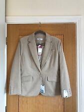 NEXT Petite Stone Beige Fine Corduroy Tailored Blazer Jacket UK Size 12 -