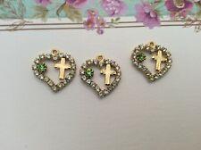 Pendants Vintage Goldtone Hearts + Cross Crystal 20mm Pack 3 CRAFT Post Free