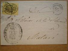 FRONTAL CARTA CASTELLÓN A MATARÓ EDIFIL 35 AÑO 1855 FECHADOR Y SELLO JUZGADO