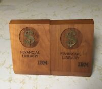 Vtg IBM Financial Library Wood Bookends International Business Machine Computer