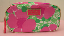 New Lilly Pulitzer Estee Lauder PINK FLORAL with Gold Trim Cosmetic MakeUp Bag