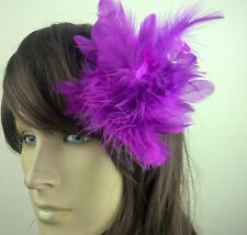 purple feather flower fascinator millinery hair clip wedding piece ascot race