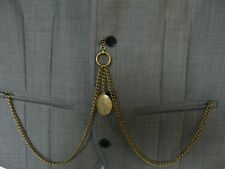 unusual double albert antiques bronze plated pocket watch chain fob tbar locket
