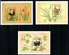 [BHUT] BHUTAN 1990 BUTTERFLIES, INSECTS. SET OF 3 SOUVENIR SHEETS. SC#839,41,43