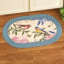 Spring Birds Flowers Floral Blue Braided Accent Floor Rug Door Mat Kitchen Home