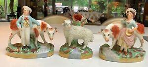 Antique English Old Staffordshireware three pc Set~Boy~Girl~Cows~Sheep~Figurines