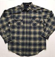 Vtg NORTHWEST TERRITORY Sz M Blue Green Shadow Plaid Flannel Button Up Shirt