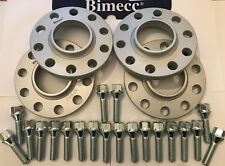 ALLOY WHEEL SPACERS BIMECC 10mm SILVER X 4 + M14X1.25 SILVER BOLTS FOR BMW 66.6