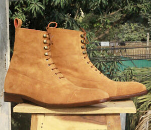 Mens Tan Cap Toe Suede Ankle Boots. Handmade Customized High Ankle Boots for men
