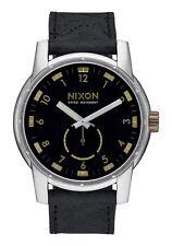 **BRAND NEW** NIXON WATCH THE PATRIOT LEATHER BLACK / BRASS A9382222 NIB!