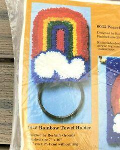 The Creative Circle Peaceful Rainbow Latch Hook Kit Towel Holder #1845 Vtg NOS