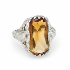 Antique Deco Egyptian Filigree Citrine Ring Vintage 14k White Gold Estate Fine